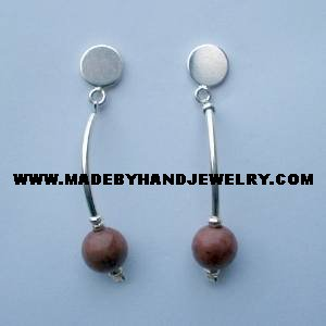 Handmade .950 Pure silver earrings with Clorodosite