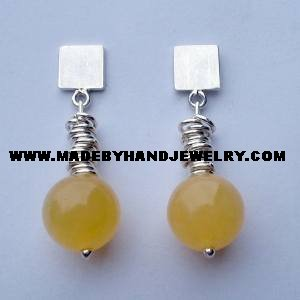 Handmade .950 pure silver earrings with Yellow Agate