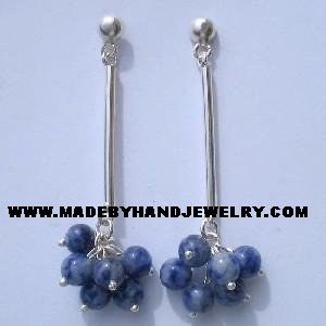 Handmade .950 Pure Silver Earrings with Sodalite