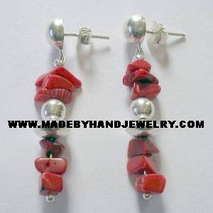 Handmade .950 Silver Earrings  with Red Coral stone (gravel)