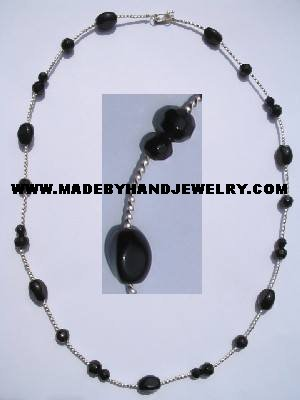 .950 Silver Necklace with Black colored Murano *EMAIL SIZE FOR AVAILABILITY AND PRICE*