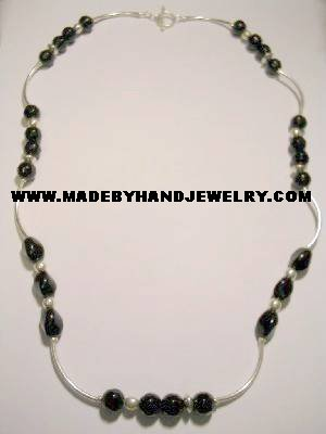 Handmade .950 Silver Necklace with Black Colored Murano