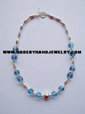 Handmade .950 Silver Necklace with Light Blue Colored Murano