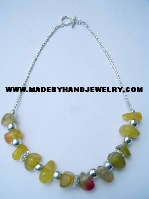 .950 Silver Necklace with Yellow Agate *EMAIL SIZE FOR AVAILABILITY AND PRICE*