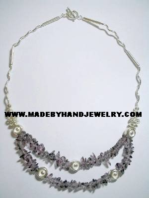 .950 Silver Necklace with Amethyst *EMAIL SIZE FOR AVAILABILITY AND PRICE*