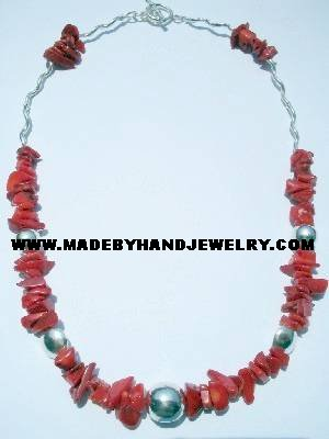 Handmade .950 Silver Necklace with Red Coral