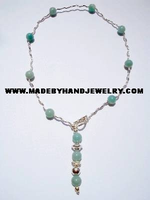Handmade .950 Silver Necklace with Light Blue Agate