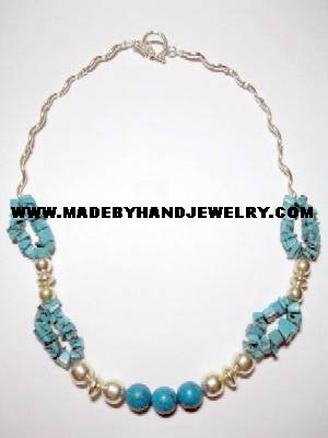 Handmade .950 Silver Necklace with REAL Turqoise Stones