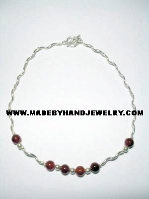 Handmade .950 Silver Necklace with REAL Brown Agate