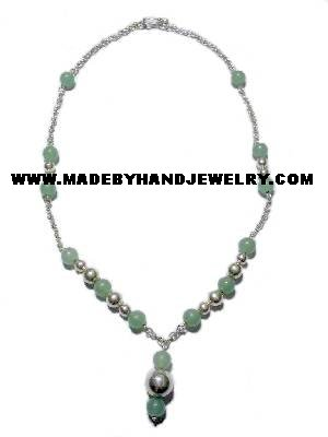 Handmade .950 Silver Necklace with REAL Jade