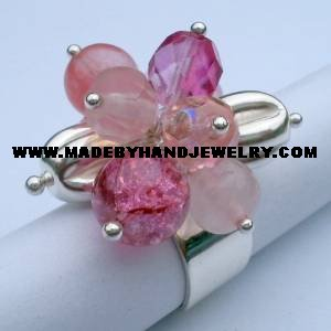 .950 Silver Ring w/ various colored Murano and Rodochrosite *EMAIL SIZE FOR AVAILABILITY AND PRICE*