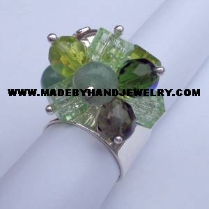 .950 Silver Ring w/ colored Murano, Jade, and Adventurine *EMAIL SIZE FOR AVAILABILITY AND PRICE*