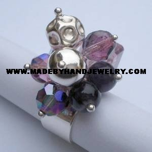 .950 Silver Ring w/ various colored Murano and Amethyst *EMAIL SIZE FOR AVAILABILITY AND PRICE*