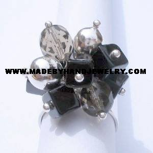 .950 Silver Ring with Black Murano *EMAIL SIZE FOR AVAILABILITY AND PRICE*