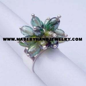 Handmade .950 Silver Ring with Multi-Colored Murano Crystals