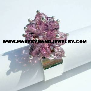 Handmade .950 Silver Ring with Grape colored Murano
