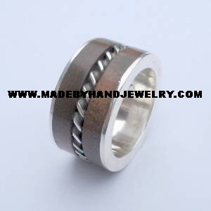 .950 Silver Ring with Wood *EMAIL SIZE FOR AVAILABILITY AND PRICE*