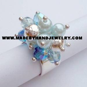 .950 Silver Ring with Murano and Pearls *EMAIL SIZE FOR AVAILABILITY AND PRICE*
