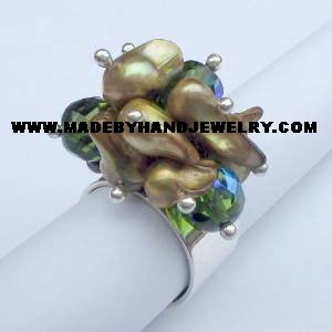 .950 Silver Ring with Murano and Nacar *EMAIL SIZE FOR AVAILABILITY AND PRICE*