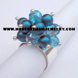 .950 Silver Ring with Murano and Japanese Pearls *EMAIL SIZE FOR AVAILABILITY AND PRICE*