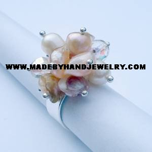 Handmade .950 Silver Ring with Crystal Colored Murano and Nacar