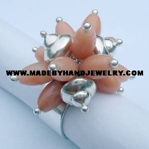 .950 Silver Ring with Melon colored Quartz *EMAIL SIZE FOR AVAILABILITY AND PRICE*