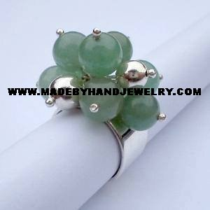 Handmade .950 Silver Ring with Jade Stone
