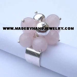 Handmade .950 Silver Ring with Pink Quartz Stone
