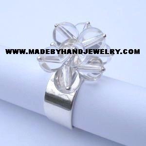 Handmade .950 Silver Ring with Quartz Stone