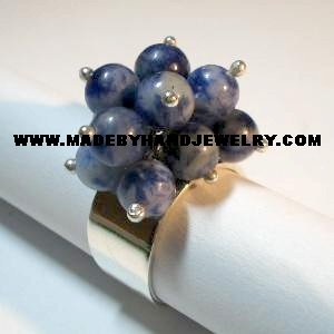 Handmade .950 Silver Ring with Sodalite Stone