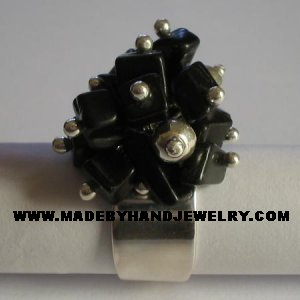 Handmade .950 Silver  Ring with Black Onyx