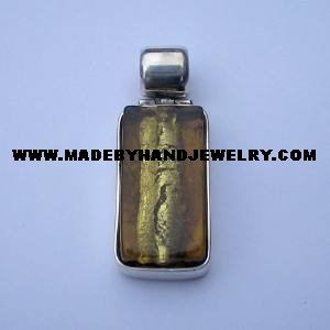 .950 Silver Pendant with long Amber colored Murano