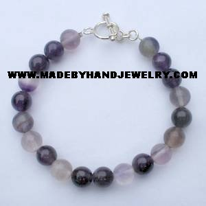 .950 Silver Bracelet with Amethyst and Flourite *EMAIL SIZE FOR AVAILABILITY AND PRICE*