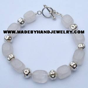.950 Silver Bracelet with Pink Quartz *EMAIL SIZE FOR AVAILABILITY AND PRICE*