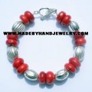 .950 Silver Bracelet with Red Coral *EMAIL SIZE FOR AVAILABILITY AND PRICE*