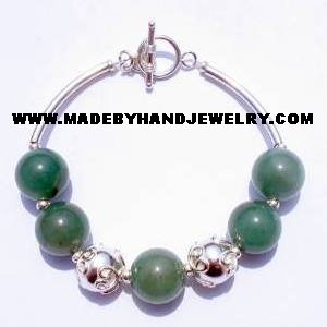 .950 Silver Bracelet with Jade *EMAIL SIZE FOR AVAILABILITY AND PRICE*