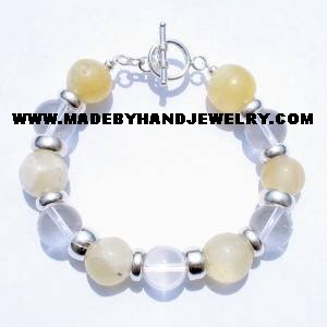.950 Silver Bracelet with Opal and Quartz Crystal *EMAIL SIZE FOR AVAILABILITY AND PRICE*