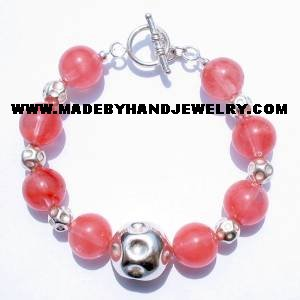 .950 Silver Bracelet with Rodocrosite *EMAIL SIZE FOR AVAILABILITY AND PRICE*