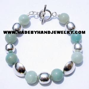 .950 Silver Bracelet with Light Blue Agate *EMAIL SIZE FOR AVAILABILITY AND PRICE*
