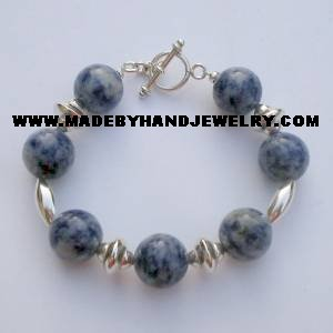 .950 Silver Bracelet with Sodalite *EMAIL SIZE FOR AVAILABILITY AND PRICE*