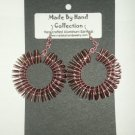 Round Cotton Candy Pink/Chocolate Brown Aluminum Earrings -FREE SHIPPING-