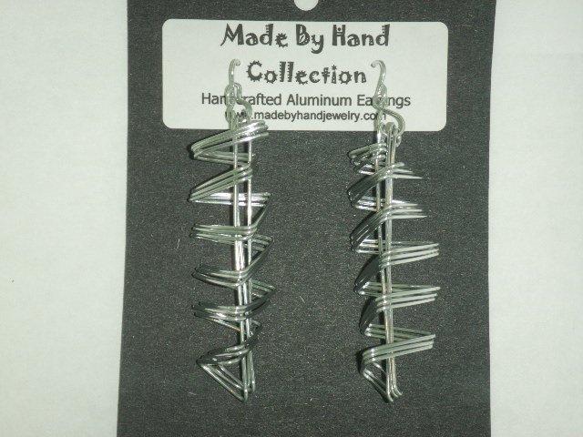 Long Metallic Silver Aluminum Earrings -FREE SHIPPING-