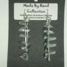 Long Metallic Silver Aluminum Earrings -FREE SHIPPING-