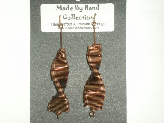 Twisting Chocolate Brown Aluminum Earrings -FREE SHIPPING-