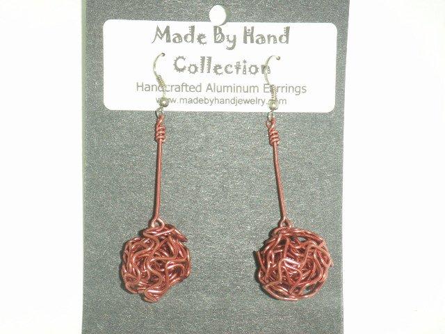 Deep Pink Weaved Ball Aluminum Earrings -FREE SHIPPING-