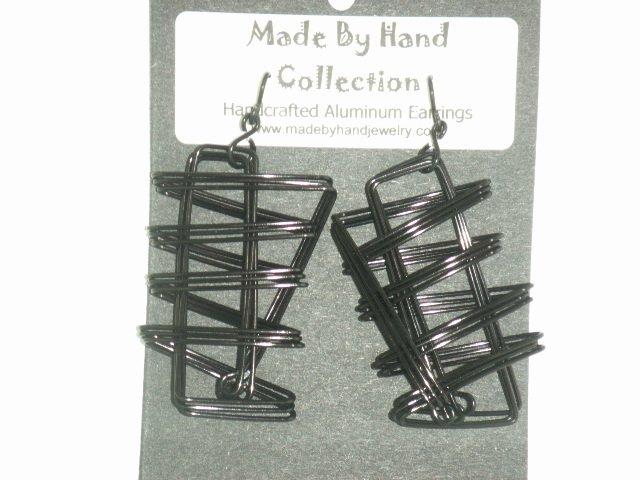 Midnight Black Zig Zag Design Aluminum Earrings -FREE SHIPPING-