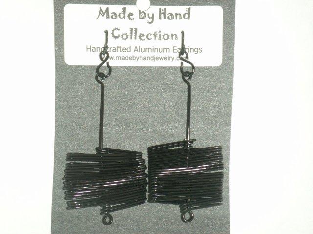 Midnight Black Tight Zig Zag Design Aluminum Earrings -FREE SHIPPING-
