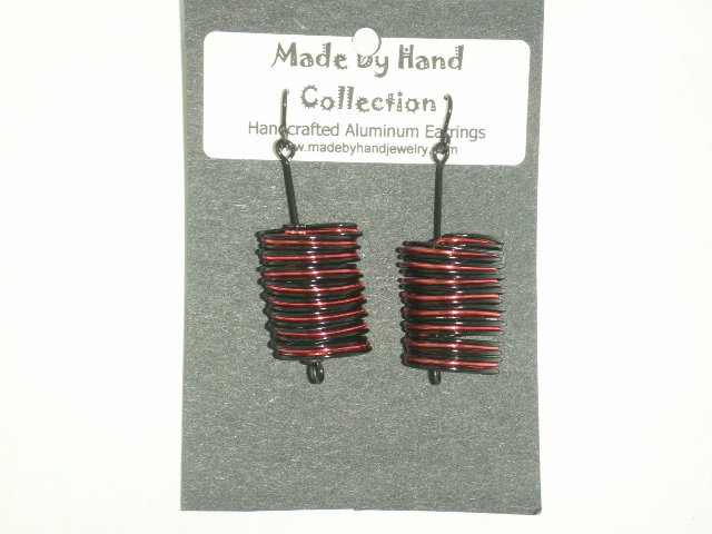 Wild Red/Midnight Black Small Cylinder Design Aluminum Earrings -FREE SHIPPING-