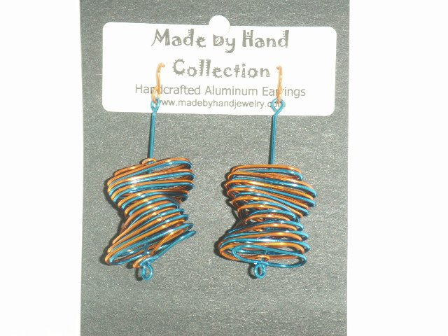 Penny Copper/Electric Blue Twisted Oval Design Aluminum Earrings -FREE SHIPPING-