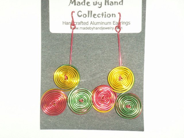 Sunrise Yellow/Wild Red/Forrest Green Triple Circles Design Aluminum Earrings -FREE SHIPPING-